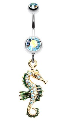 Sparkling Seahorse Dangle Belly Button Ring - 14 GA (1.6mm) - Aqua - Sold Individually