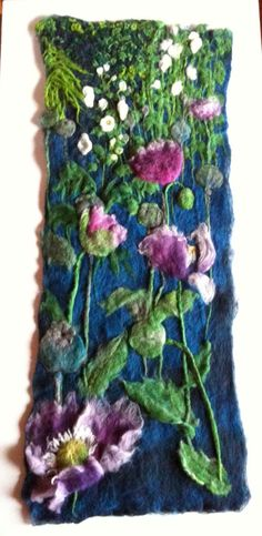 Bridget Karn - Poppies - Felt Picture 930 x 370mm mounted on canvas.