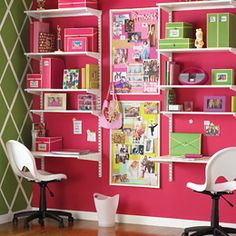 Found the perfect way to organize my up and coming middle schooler's tiny room.  The pink Accent wall just sets it off! The container store is a bit pricey but found the exact shelving system at ikea for $100 bucks.