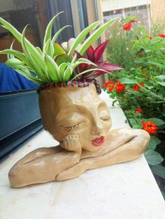 Ceramic women planter head sculpture planter outdoor statue ceramic succulent planter lady planter yard decor garden decor succulent pot - All About Gardens Face Planters, Ceramic Planters, Hanging Planters, Sculpture Head, Art Sculptures, Garden Design Plans, Outdoor Statues, Succulent Pots, Art Plastique