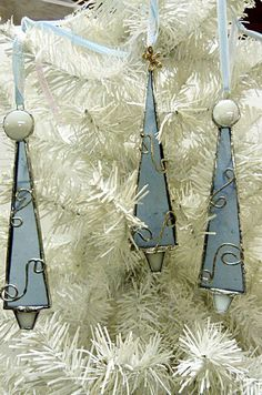 Elegant Frosty Blue Stained Glass Christmas Tree by miloglass, $23.00