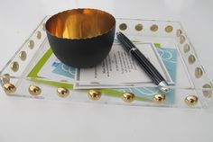 gold studded lucite tray