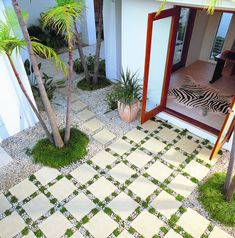 Pebbles and Mondo Grass add visual appeal to this paved courtyard with Euro Classic Athens pavers by Adbri Masonry. Grass Pavers, Paving Design, Garden Paving, Terrace Garden, Paving Ideas, Glass Garden, Garden Spaces, Backyard Landscaping, Landscaping Ideas