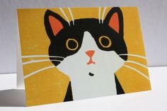 This sweet little black and white cat linocut makes a delightful greetings card for any occasion. It is printed on recycled board and comes packed with a white envelope in a cello packet. Yellow Background, White Envelopes, Mustard, Pikachu, Recycling, Greeting Cards, Handmade Items, Kids Rugs, Joy