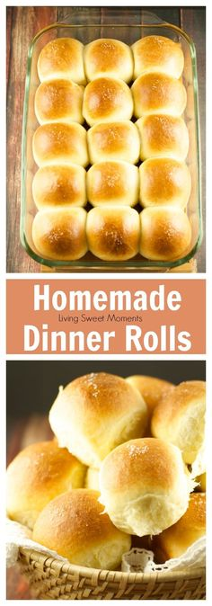 Homemade Dinner Rolls Recipe– These quick homemade dinner rolls are easy to make, soft, fluffy and delicious. This is the best rolls you will evertry! More Thanksgiving recipes at livingsweetmoments.com