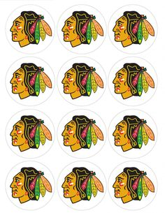"""Single Source Party Supply - 2.5"""" Chicago Blackhawks Cupcake Edible Icing Image Toppers"""