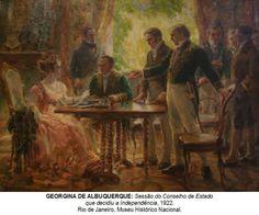 """Em 1922, já no Brasil, Georgina de Albuquerque fez a primeira pintura histórica realizada por uma mulher no país: o quadro """"Sessão do Conselho do Estado que decidiu a Independência"""" que hoje está no Museu Histórico Nacional do Rio de Janeiro."""