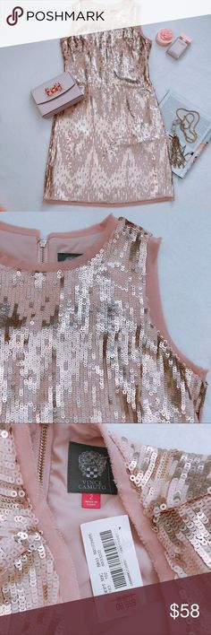 """f2cfa0d36030 Vince Camuto Sleeveless Sequins Dress Brand New with Tag Retail:168$ Pit to  pit:16.5"""" Waist:15"""" Shoulder to hem:35"""" Color:Blush Pink Vince Camuto  Dresses"""