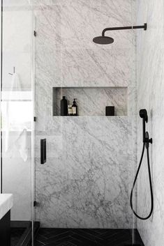 """Marble Shower Surround / bathroom fixtures Rethinking the Shower Niche (& Why I Think The Ledge Is """"Next"""") Bad Inspiration, Bathroom Inspiration, Bathroom Ideas, Bathroom Remodeling, Shower Ideas, Kitchen Renovations, Kitchen Remodel, Bathroom Stuff, Bathroom Colors"""