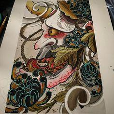 Today's painting #tattoo#tattoos#tattooart#tattoopainting#japaneseart#japanesetattoo#japaneseflowertattoo#orientalart#orientaltattoo#asianart#asiantattoo#hannya#hannyamask#brightontattoo#brighton#