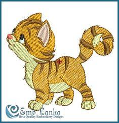 Orange Kitten Embroidery Design