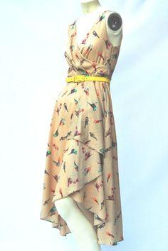 EVA FRANCO ANTHROPOOGIE hanky hem Layered Fit and Flare Midi birds cakhi dress 6 #Anthropologie #AsymmetricalHem #Cocktail