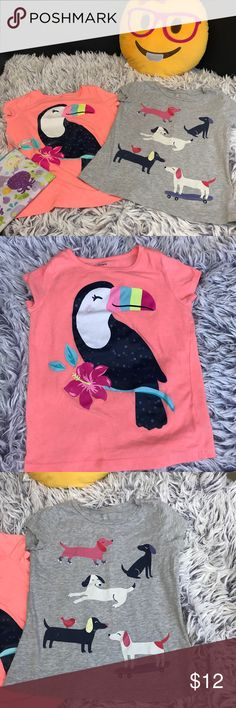 Short Sleeve Graphic Tee Bundle Two Carter's girls shirts one bright neon shirt with a toucan and the other a gray shirt with dogs. Lots of clothes in my closet, bundle and save with a private discount! Carter's Shirts & Tops Tees - Short Sleeve
