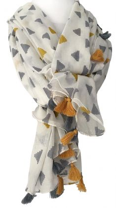 Large cream scarf with a mustard yellow and grey triangle pattern and tassel trim to the edges long wide and soft beautiful quality 100 cotton fabric Scarf Wearing Styles, Scarf Styles, Cotton Scarf, Cotton Fabric, Mustard Scarf, Designer Scarves, Indian Designer Outfits, Scarf Design, Kurta Designs