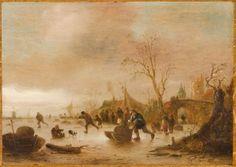 Isack van Ostade (Dutch, 1621–1649), Skaters Near a Village