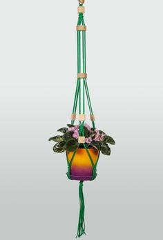 "Hanging Beads ~ Green Macrame Plant Hanger 40"" (1m) ~ Hanging Planter ~ Beaded Modern Planter ~ Restaurant Interior Design ~ Bar Design by DanceOfTheSoul on Etsy"