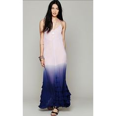 Fp dip dye maxi dress Beautiful dip dye maxi dress by free people. The color is exactly like the model picture, it's just the lighting in my house makes it look slightly different. Free People Dresses Maxi