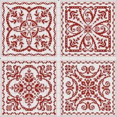 Four tiles / monochrome in red / intricate