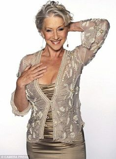 beautiful Helen Mirren silver and gold
