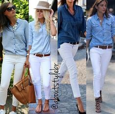 white and blue II. : white and blue II. Blue Trousers Outfit, Blue Shirt Outfits, Blazer Outfits Casual, Trouser Outfits, Mom Outfits, Classic Outfits, Cute Outfits, Casual Chic, White Casual