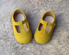 Mustard Yellow Toddler Girl Shoes, Baby Girl Shoes, Yellow Baby Shoes, Toddler Shoes, Gift For Girls, T Strap Mary Jane, Leather Baby Shoes