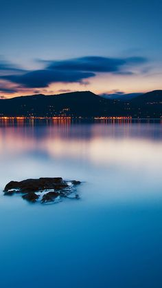 Nature Peaceful Lake Night Cityscape Seaside #iPhone #5s #wallpaper