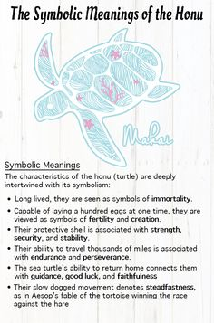The Honu (sea turtle) can have many different meanings to many different people! Turtle Spirit Animal, Spirit Animal Totem, Animal Spirit Guides, Animal Totems, Turtle Symbolism, Animal Symbolism, Animal Meanings, Symbols And Meanings, Turtle Meaning