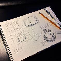 Můj skicák neřídí žádná pravidla úkoly projekty ani nic podobného. Tak jak mě věci napadnou tak je tam nakreslím. Takže je úplně normální když se vedle návrhů layoutu pro poptávkový formulář objeví třeba naskicovaný návrh ilustrace . . . . My sketchbook has no rules tasks projects or something similar. It lives it's own life. When I got something on my mind I draw it. So it's normal when right next to layout design for inquiry form will appear a sketched drawing of illustration…