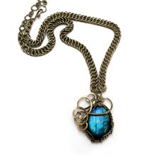Wire Wrap Chainmaille Necklace with Blue Labradorite by Hyppiechic, $75.00