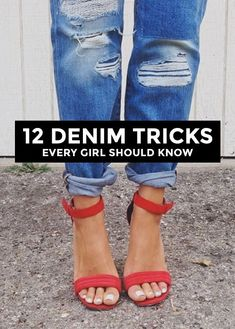 13 Essential Denim Tips: How to Wash, Break In, and Fold Jeans Like a Pro Denim tips & tricks every girl should know. Learn what to style with your favorite pair of jeans for great summer fashion. Look Fashion, Diy Fashion, Autumn Fashion, Womens Fashion, Fashion Tips, Fashion Trends, Fashion Hacks, Fashion Fabric, Petite Fashion