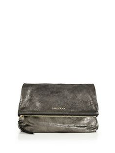 Jimmy Choo - Shimmer Suede Fold-Over Clutch