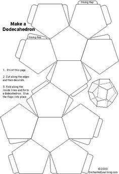 FREE Dodecahedron Printable~ Print out this model from Enchanted Learning, and your part is done. Students cut it out and assemble it according to directions. The gluing part is always tricky, but you can also let the students use tape! Shape Templates, Templates Printable Free, Printables, Printable Labels, Origami, Enchanted Learning, Paper Art, Paper Crafts, Cement Planters