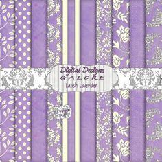 Lavish Lavender Digital Paper Pack Set of by DigitalDesignsGalore, $3.99