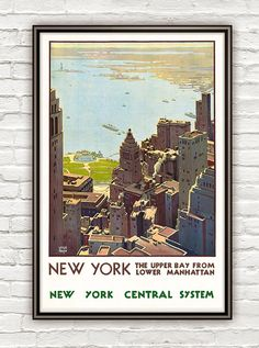 Vintage Poster of  New York 1920 Tourism poster travel 22$ 13x20