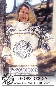 """DROPS - Drops Sweater with star and border pattern in """"Karisma Superwash """" - Free pattern by DROPS Design Knitting Patterns Free, Free Knitting, Free Pattern, Border Pattern, Finger Knitting, Scarf Patterns, Knitting Tutorials, Crochet Patterns, Drops Design"""