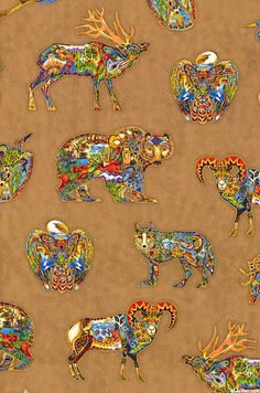 Animal Spirits 2 - Northwoods Mascots - Brown/Gold. fabric at EQUILTER
