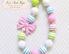 Girls Summer Chunky Bubble Gum Necklace - Photo Prop Fashion Accessory