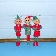 Vintage Collectible Knee Hugger Pixie Elf Christmas Tree Ornament ...