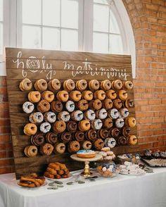chic rustic wedding donuts wall ideas #weddingideas #weddinginspiration #weddingreception #weddingdessert #weddingcakes