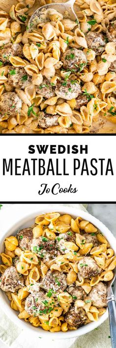 Swedish Meatball Pasta - made with pasta shells, you'll need just one pot and 30 minutes to turn this dreamy, creamy dinner into a reality! Crock Pot Cooking, Easy Cooking, Cooking Recipes, Cooking Tips, Pasta Recipes, Dinner Recipes, Dinner Ideas, Salad Recipes, Swedish Meatball