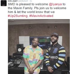 Mavins record officially sign Iyanya (Photos)  Whatsapp / Call 2349034421467 or 2348063807769 For Lovablevibes Music Promotion  Mavins record boss Donjazzy just tweeted what you see below and Iyanya also confirmed.  First Iyanya signed a management deal with Temple Productions now he's apparently left his own Made Men Music Group label to join Mavin Records.ENTERTAINMENT