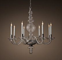 This one is from Restoration Hardware.  Beautiful! Brunswick Glass 8-Arm Chandelier - Polished Silver