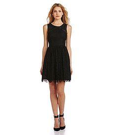 Jessica Simpson FauxLeather and Lace Cutout FitandFlare Dress #Dillards