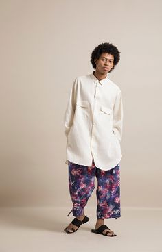 HOMME 2019 S/S 014, 60/- Special Dyed Linen Baggy Shirt   ARC-B02-301, Cosmic Pattern Fake Linen Ankle Tied Easy Pants   ARC-P06-503 Baggy Shirts, Cosmic, Ankle, Easy, Pattern, Pants, Gowns, Trouser Pants, Patterns