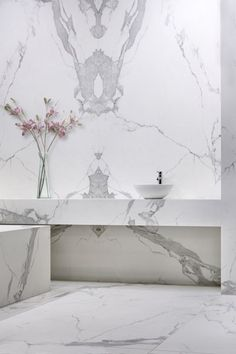 Working on a bathroom project We can help you with some marble inspirations Di… - Marble Bathroom Beautiful Bathrooms, Modern Bathroom, Gold Bathroom, Minimalist Bathroom, Carrara Marble Bathroom, Wall Cladding, Bathroom Interior Design, Bathroom Inspiration, Bathroom Ideas
