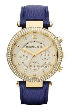Michael Kors 奢華晶鑽皮革三眼計時腕錶