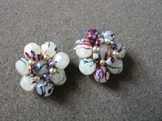 Vintage marble bead flower clip on clip back by QuaintCollectibles