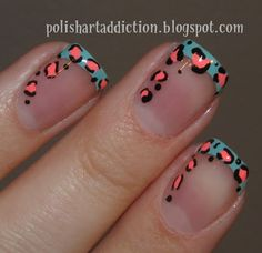 Teal and Coral Leopard French nails