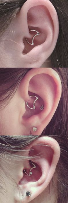 Unique and Cool Multiple Ear Piercing Combination Ideas - Crystal Moon Daith Rook Earring Jewelry Silver Gold at MyBodiArt.com