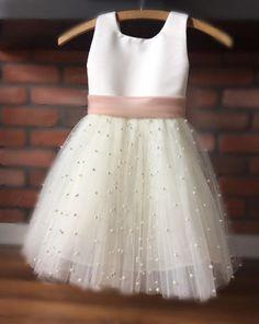 Frocks For Girls, Little Girl Dresses, Girls Dresses, Baby Dresses, Girls Princess Dresses, Baby Tulle Dress, Tulle Flower Girl, Ivory Flower Girl Dresses, Flower Girl Outfits